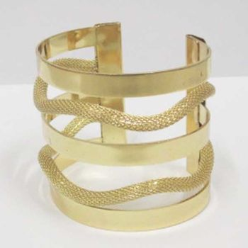 alternating bangle bracelet mesh and metal