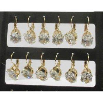 gold crystal round earring