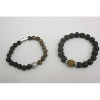 lava stone and tiger eye bracelet