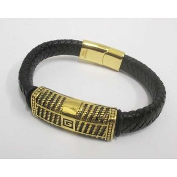 golden man leather steel bracelet