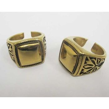 gold steel signet ring