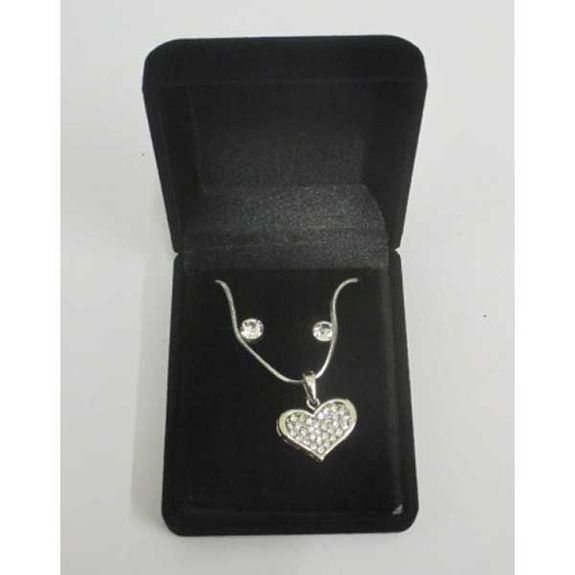 flattened crystal heart necklace