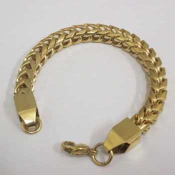 double gold curb link bracelet