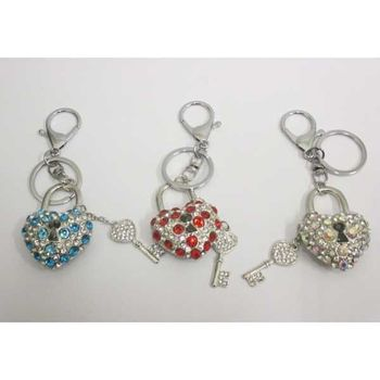 jewelry keychain padlock heart with its key