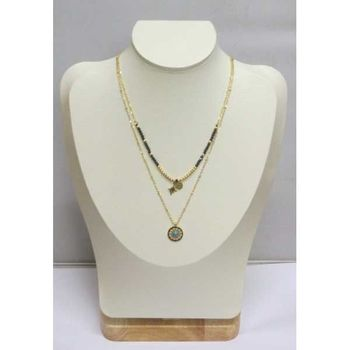 double chain inca blue stone pendant