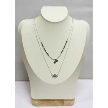ethnic double necklace turquoise stone on half moon