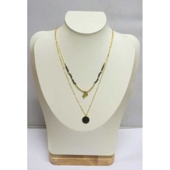 double chain necklace steel round pendant