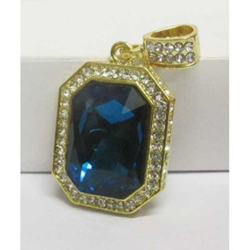 blue stone mounted on rectangular plate pendant