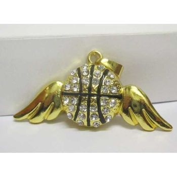 basketball ball pendant with angel wings