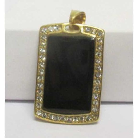 black rectangle steel pendant surrounded by rhinestones