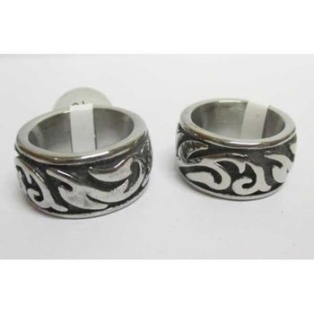 steel tribal pattern ring