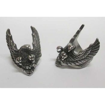 biker eagle ring spread wings
