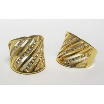 women's crystal steel gold ring