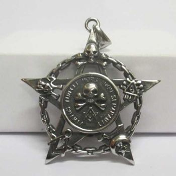 steel masonic pentagram star moon skull pendant
