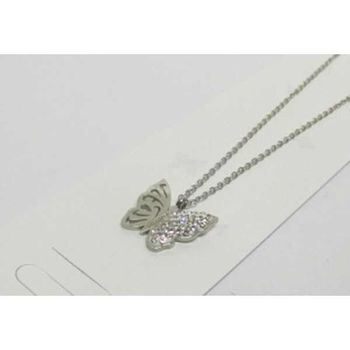 rhinestone steel butterfly pendant on wing