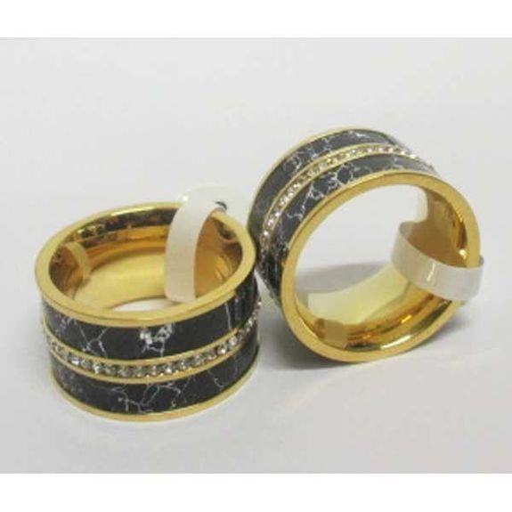 ring steel ring crystal middle