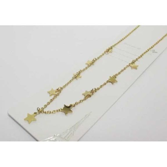multi star chain necklace in gold steel