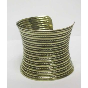 aged gold striped bangle