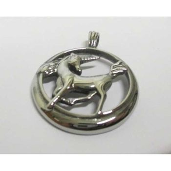 steel horn horse medallion