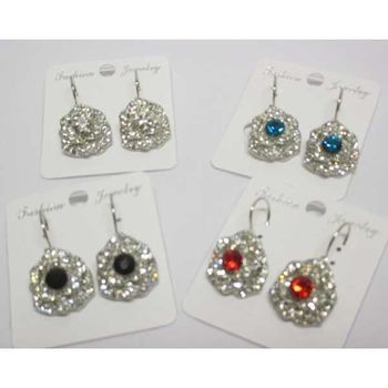 crystal sleeper flower earrings