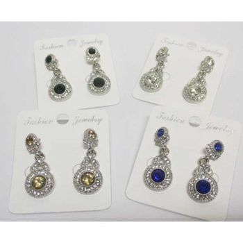 fancy crystal pendant round rhinestone earrings