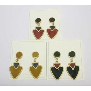 enameled triangle earring