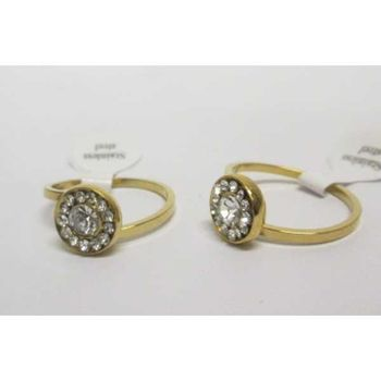 round crystal ring in gold