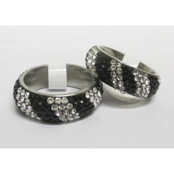 black white striped rhinestone alliance ring