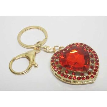 jewelry red crystal heart keychain