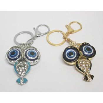 jewelry keychain owl blue eye