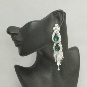 green crystal undrilled earring