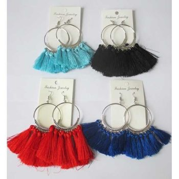 pendant tassel circle earrings