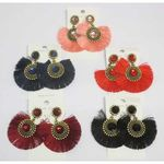 semi circle crystal tassel earrings