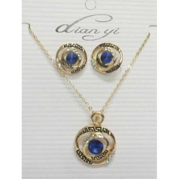 blue crystal necklace with its matching earring
