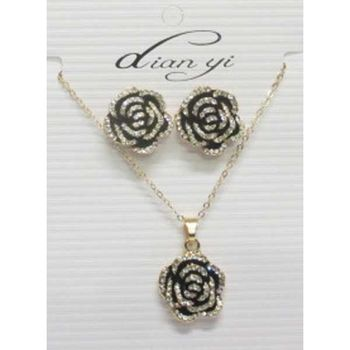 jewelry necklace earrings flower rhinestone