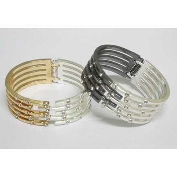 2 tone crystal bracelet bangle