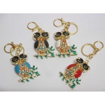 owl bag charm with rhinestones and gold key ring