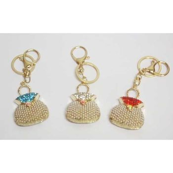 jewelry bag keychain handbag pearl and rhinestones