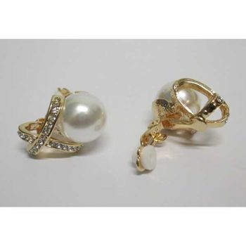 gold pearl crystal clip on earrings