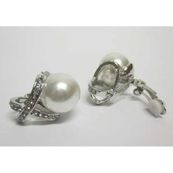 pearl cross crystal clip on earrings