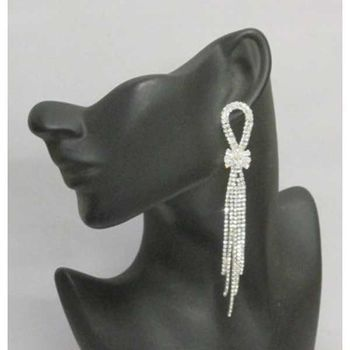 silver earrings with rhinestone bow
