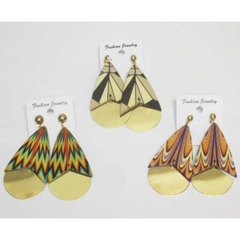 geometric wood earrings ethnic patterns