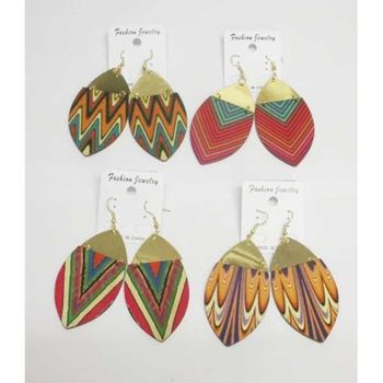 colorful plank wood earrings