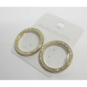 steel crystal hoop earrings