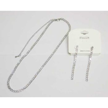 square zirconium chain necklace