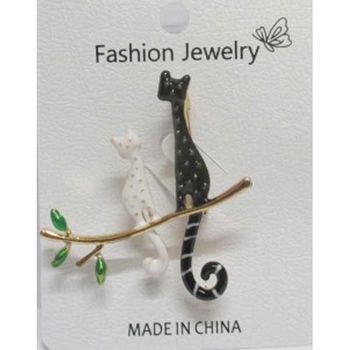 black cat and white cat brooch jewelry