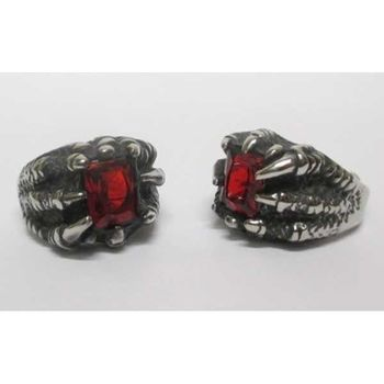red stone claw ring