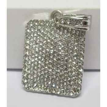 pendentif rectangle cristal strass argent