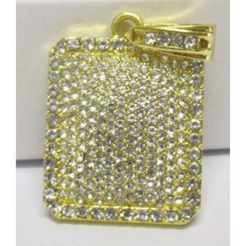men's golden crystal rectangle pendant
