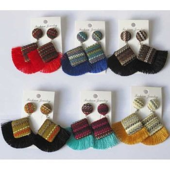 tassel fabric half moon earrings
